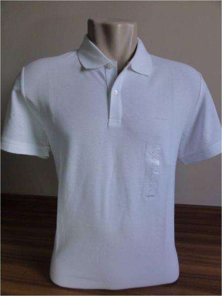 Camisa Polo Masculina Calvin Klein Branca Tam. G - Meus Importados USA 33a3c1e42388f