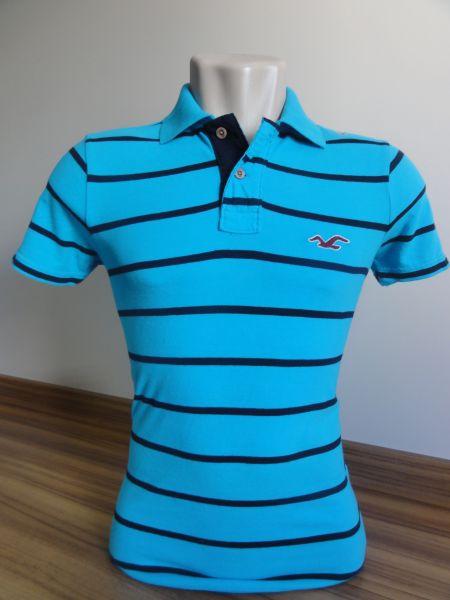 eee89c7761 Meus Importados USA. Camisa Polo Masculina Hollister Azul Listrada Tam. M