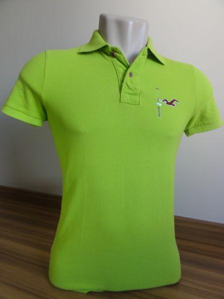 22b8fc6141 Camisa Polo Masculina Hollister Verde Claro Tam. P - Meus Importados USA